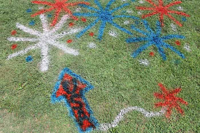 summer 4th of july decorations painted on grass