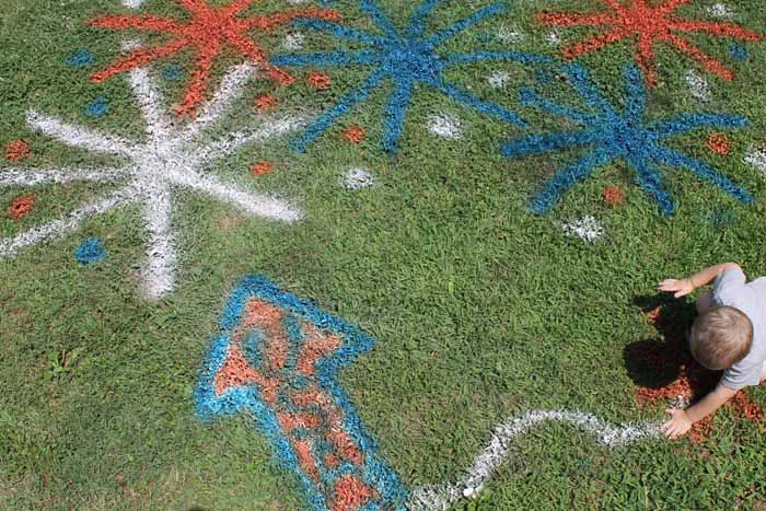 decorating your grass with spray chalk