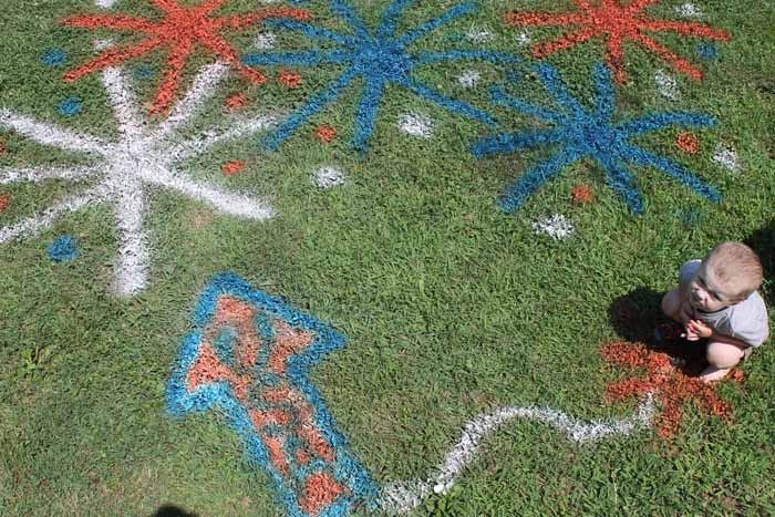 painting your yard with spray chalk
