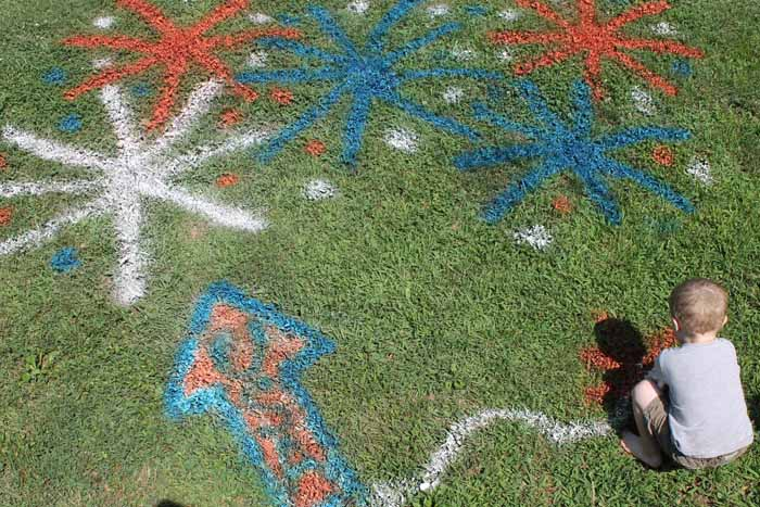 summer decorations spray painted on the grass