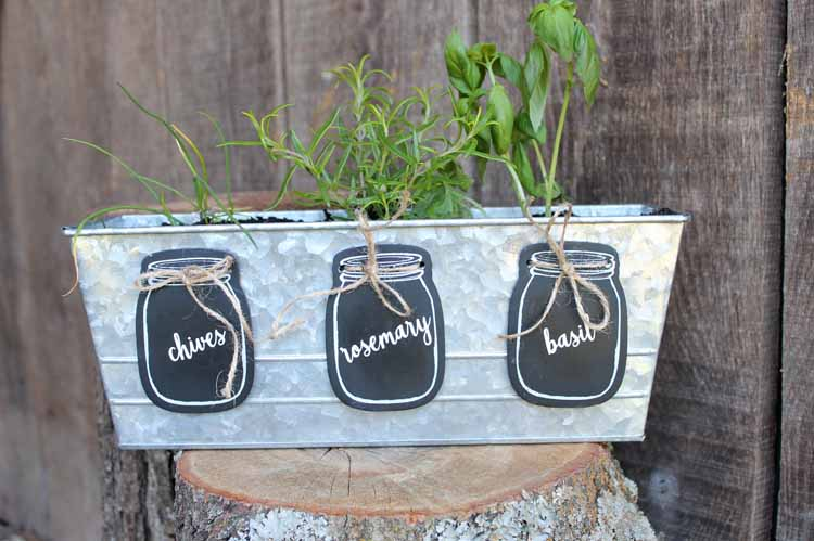 herb planter with mason jar garden markers
