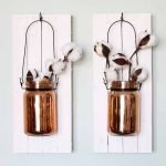 Make a mason jar on wood and add to your wall decor! A fun decorative idea for any farmhouse style home! And you have to love those copper jars and cotton branches!