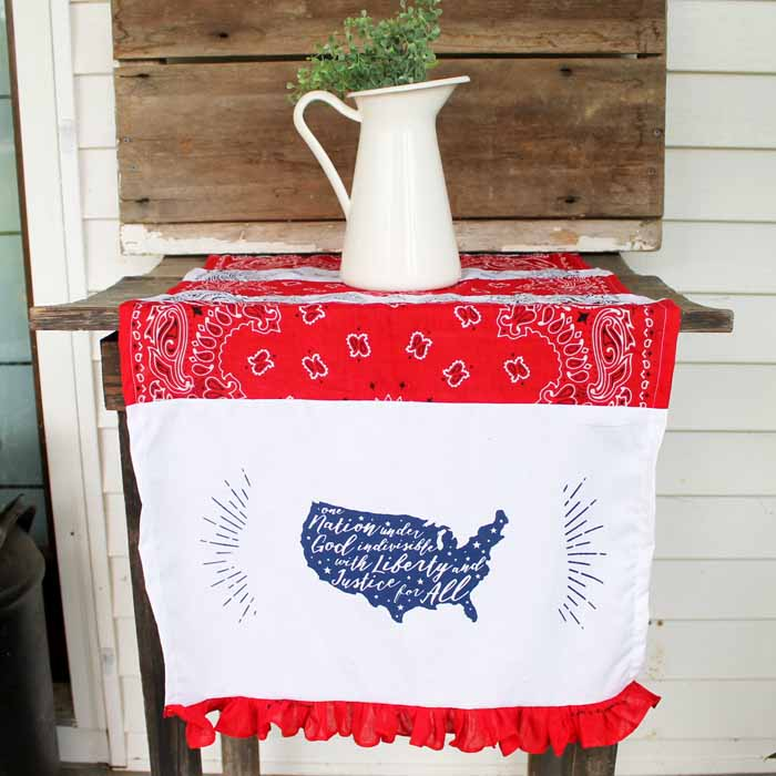 Make these Fourth of July decorations with Chalk Couture for your patriotic celebration! An easy table runner and so many other ideas with this reusable transfer!