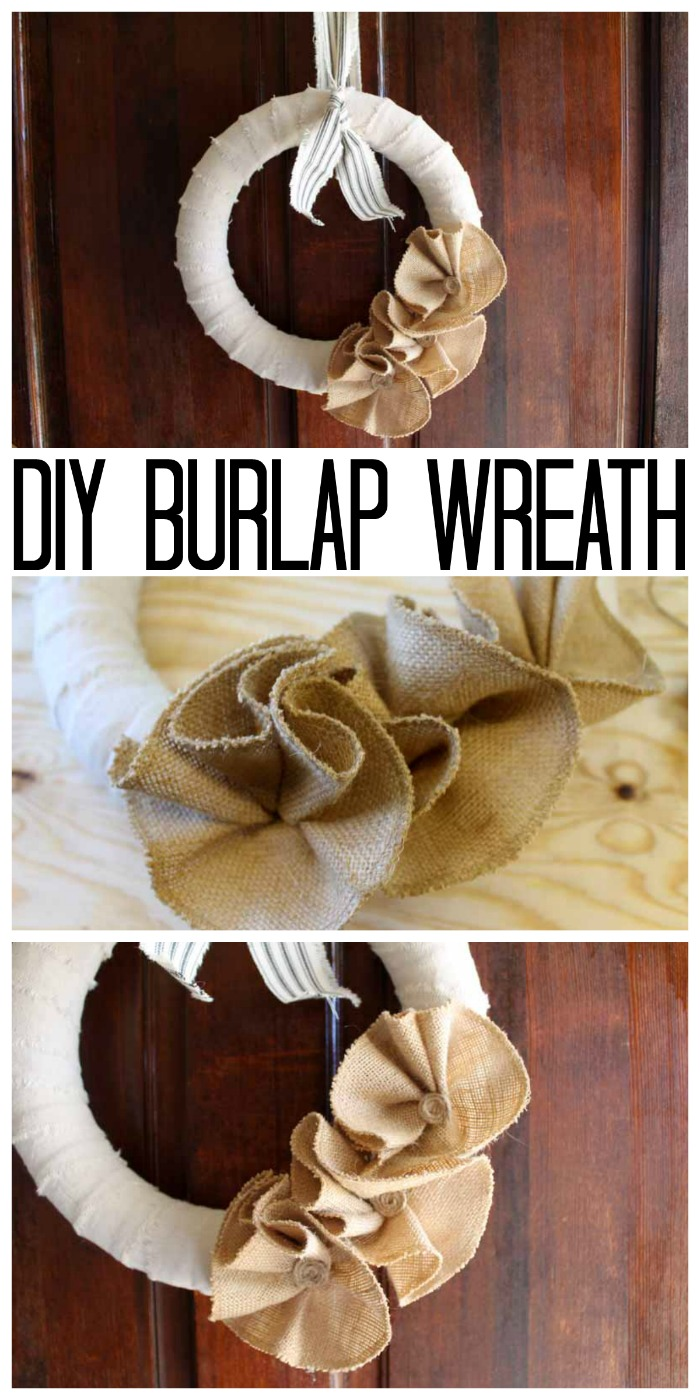 A great burlap wreath tutorial that you can make in 15 minutes or less! Making a burlap wreath has never been easier! #burlap #wreath