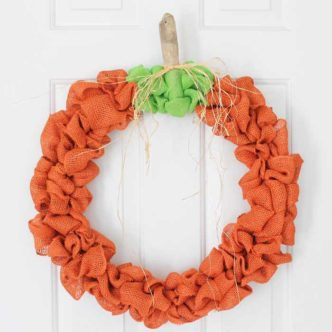 Burlap Fall Wreath in a Pumpkin Shape