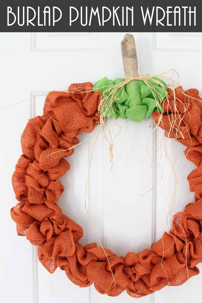 burlap fall wreath that looks like a pumpkin
