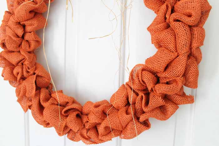 orange burlap on wreath form