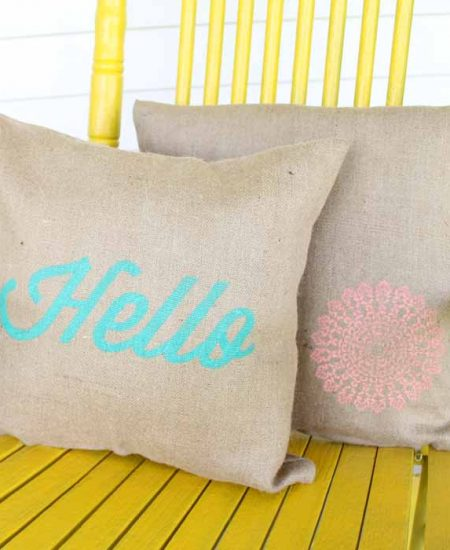 burlap pillows on a porch
