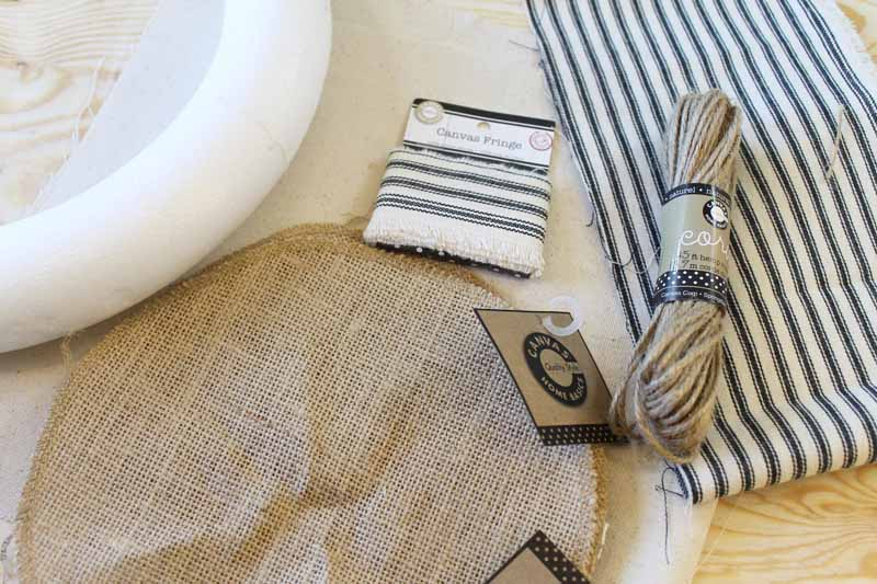 Supplies needed to make an easy burlap wreath.