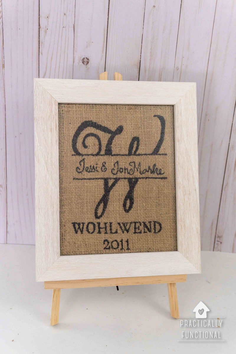 burlap name in a frame