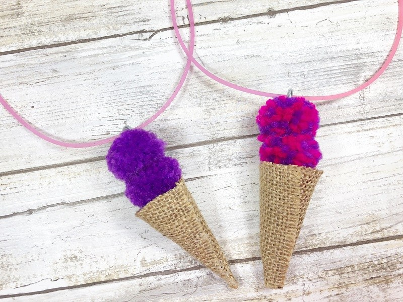 burlap ice cream cone necklace