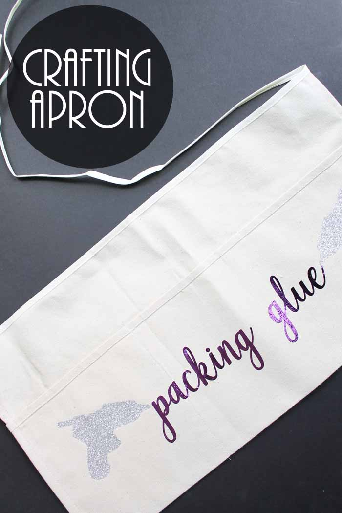 Make this DIY apron for crafting! Includes hot glue gun cut file!