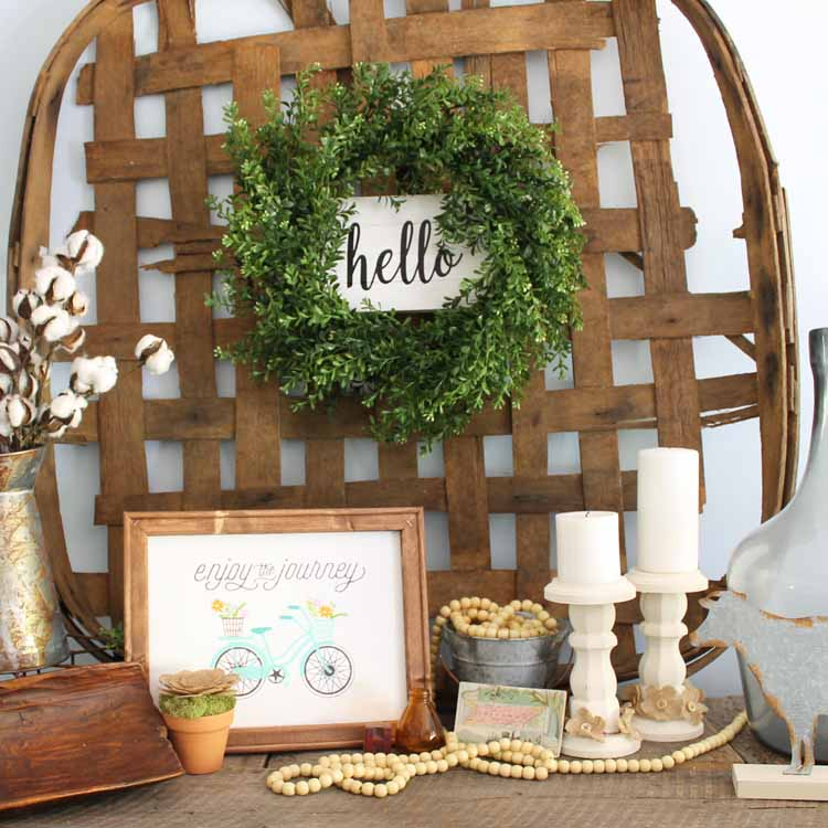 diy farmhouse wreath on a rustic mantel