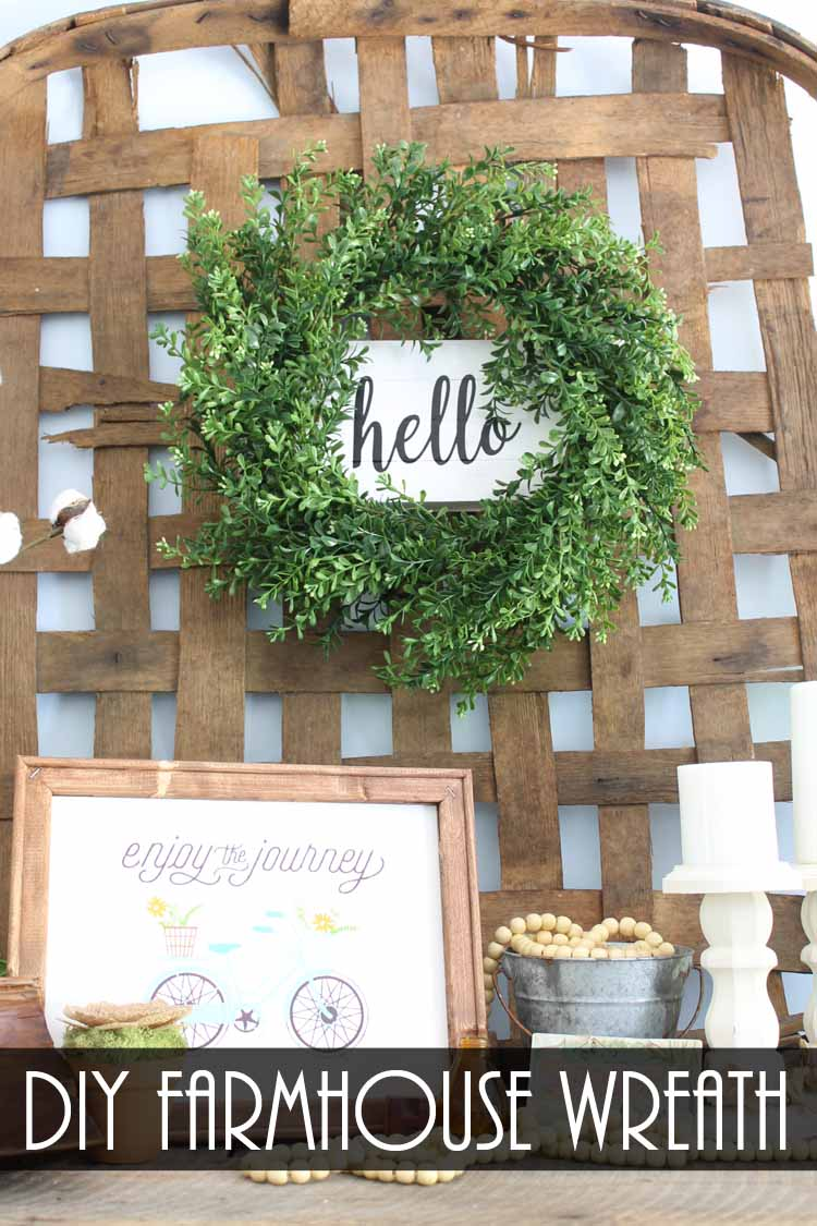 diy farmhouse wreath on a tobacco basket