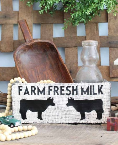 farm fresh milk box made with a cricut