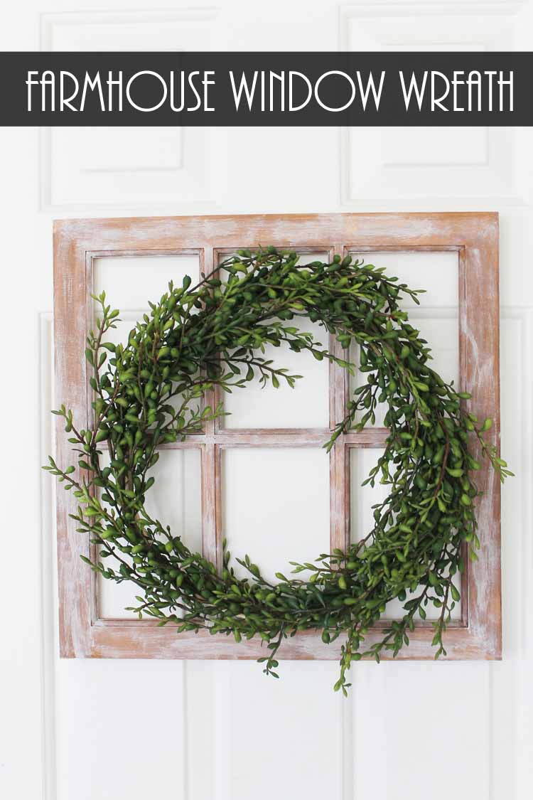 Make a farmhouse window and add a wreath for a decorative touch to any room! Love this rustic farmhouse style craft project!