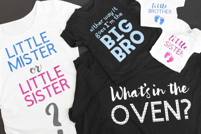 Gender reveal shirts for the entire family