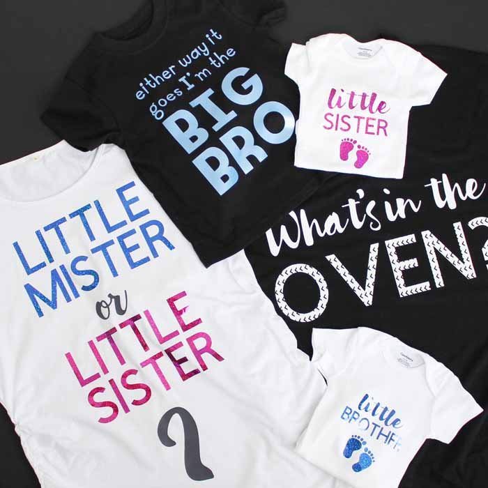 Cut files for your Cricut to make gender reveal shirts.