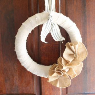 burlap flowers on a wreath