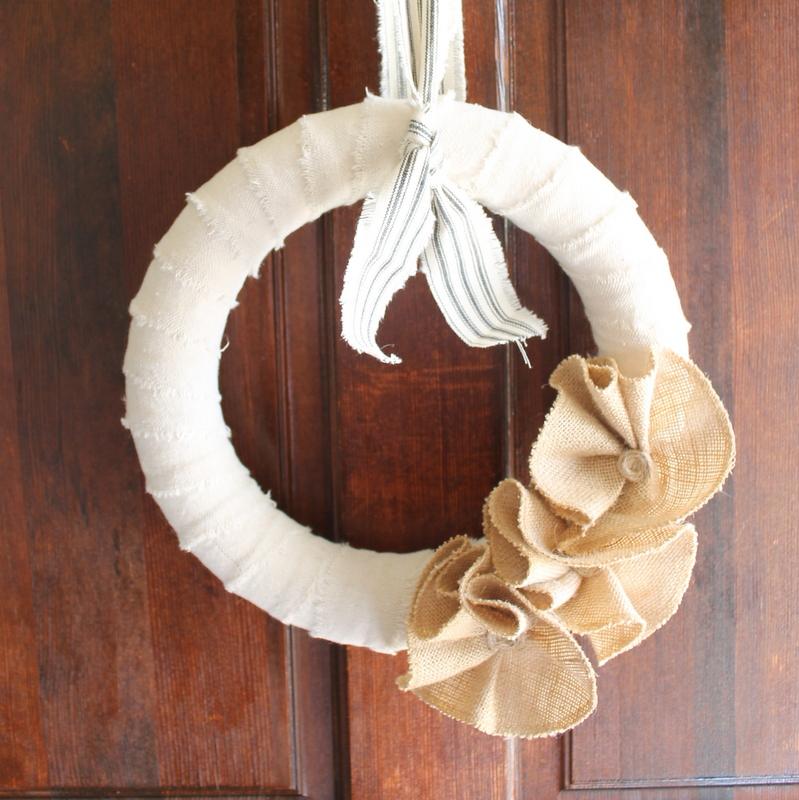 burlap flowers on a wreath