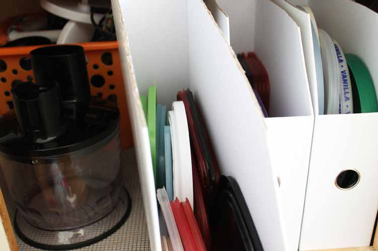 Learn about kitchen cabinet accessories that help you to store all of those pesky lids for plastic bowls! This quick and easy DIY organization project is the perfect way to organize your cabinets!