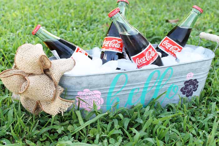 beverage tub with coke bottles