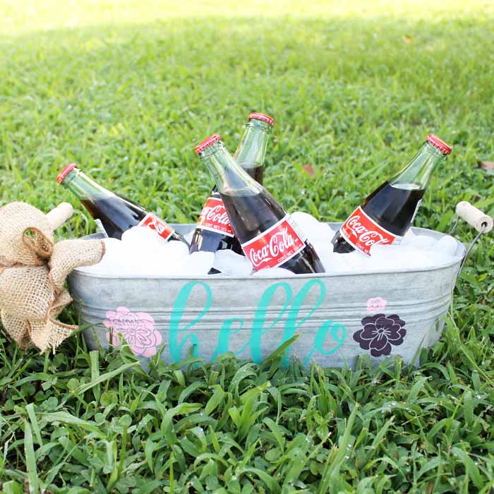 beverage tub in the grass