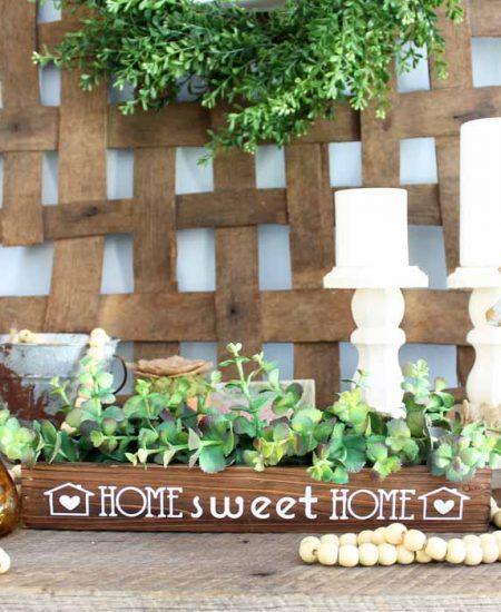 farmhouse style wooden box on a table