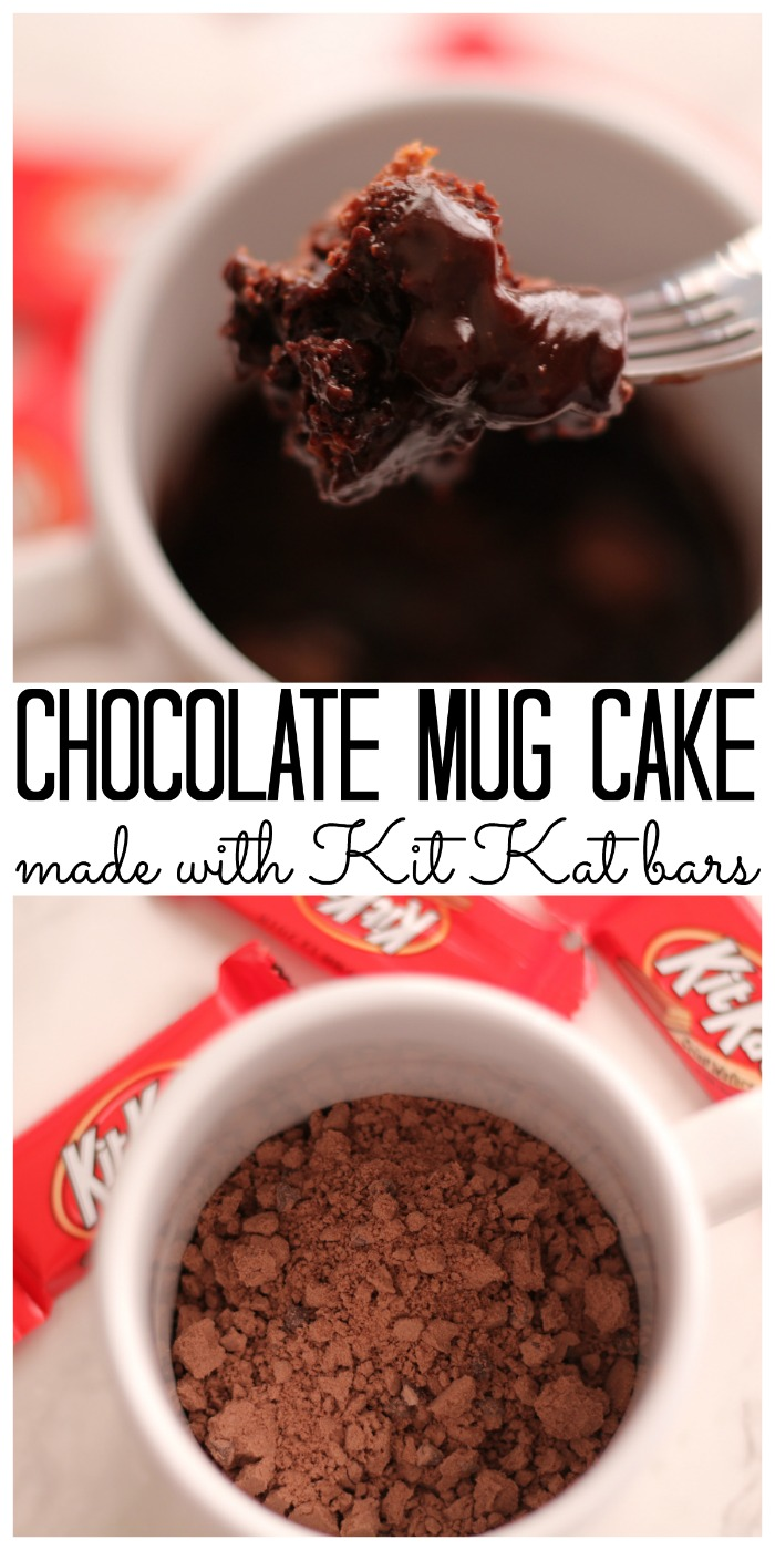 Make the best chocolate mug cake with a few Kit Kat bars! You will love how this one taste and how easy it is to make!