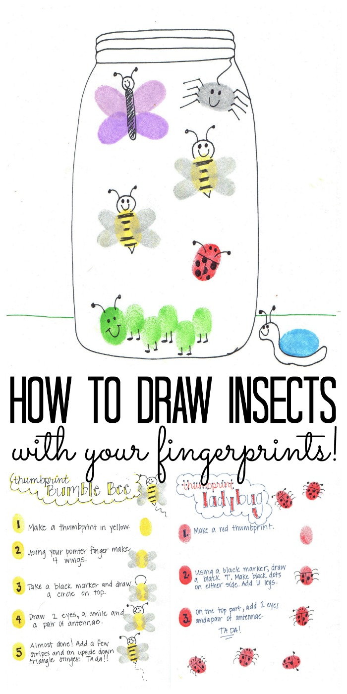 Learn how to draw insects with your fingerprints and these simple instructions! Includes free printable jar and sheets for your toddlers and pre-schoolers to follow!