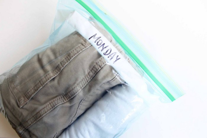 packing clothes in ziploc bags
