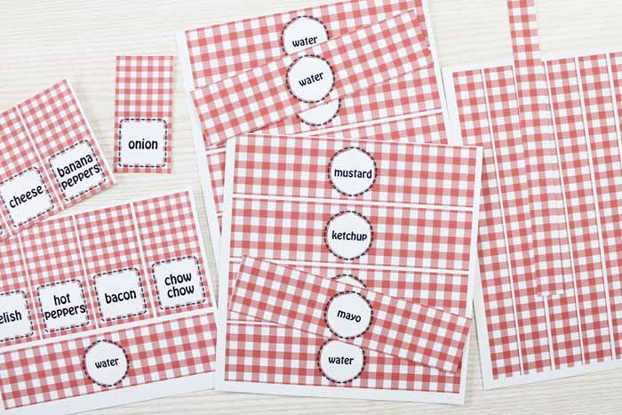 These free printable labels are perfect for a hot dog bar! Label your drinks, condiments, and more for your guests