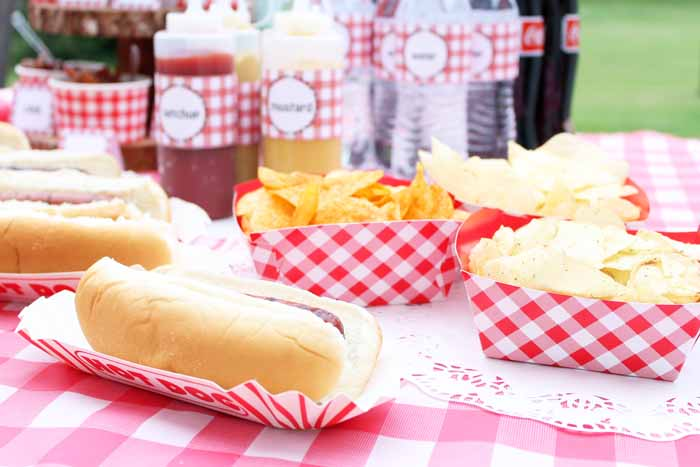 I love these picnic style containers that are perfect for serving chips and hot dogs at your build-your-own hot dog bar