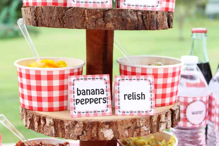 These hot dog bar printables include signs for condiments like pickles, relish, and peppers