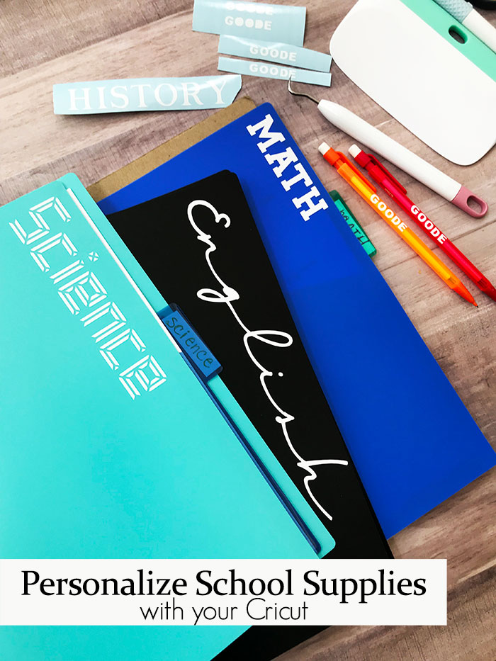 Grab your Cricut machine and start to label school supplies for this next school year. This quick and easy way to personalize your supplies is perfect for back to school season!