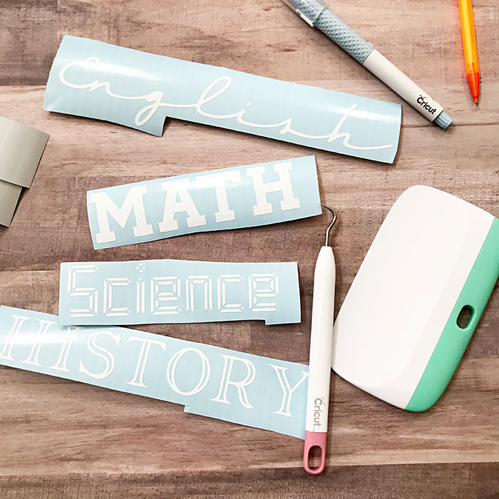 vinyl cut to label school supplies