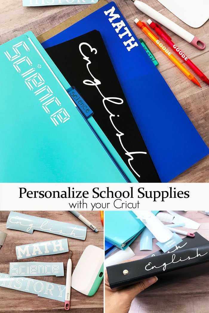 personalized school supplies with a cricut