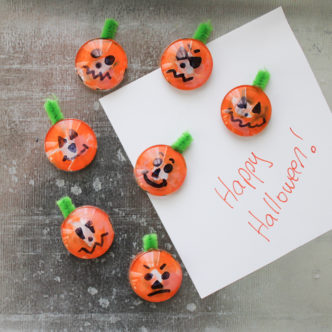 Easy Halloween Crafts for Kids:  Pumpkin Magnets
