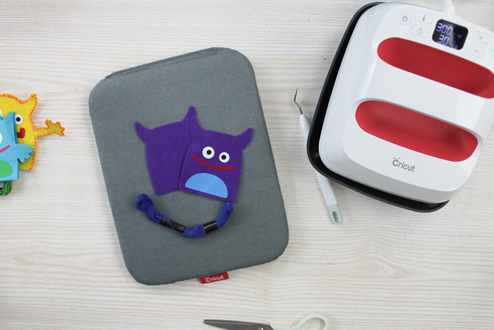 monster puppet ready to sew on a table