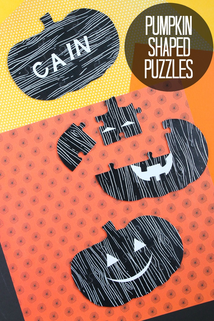 Halloween Gift Ideas - making chipboard puzzles with the Cricut Maker! This tutorial shows you how to make pumpkin shaped puzzles perfect for giving as non-candy treats on Halloween! #cricut #cricutmade #cricutmaker