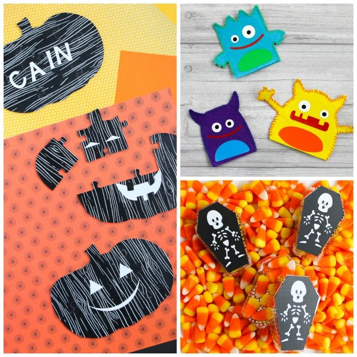 Make these three Halloween gift ideas with your Cricut Maker! Includes coffin treat boxes, felt monster puppets, and shaped pumpkin chipboard puzzles! #cricut #cricutmade #cricutmaker #halloween