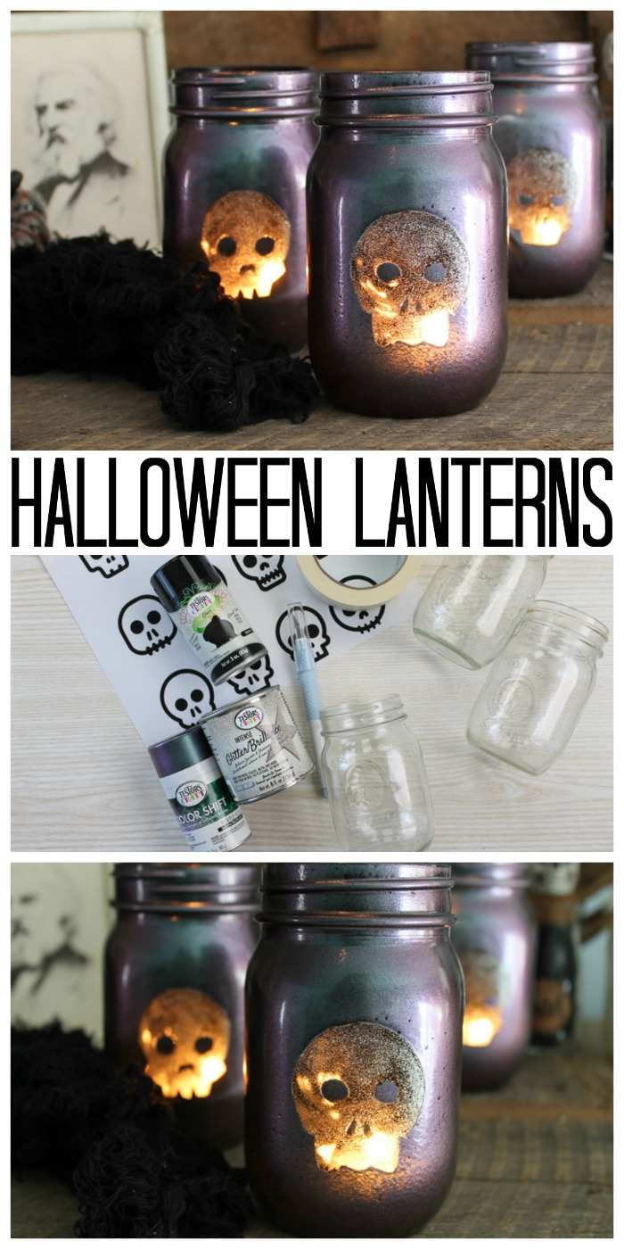 Make these great Halloween lanterns from mason jars and use them to decorate your home for the big night! This is the perfect way to craft with friends and host a Testors Crafternoons! #halloween #masonjar #skull