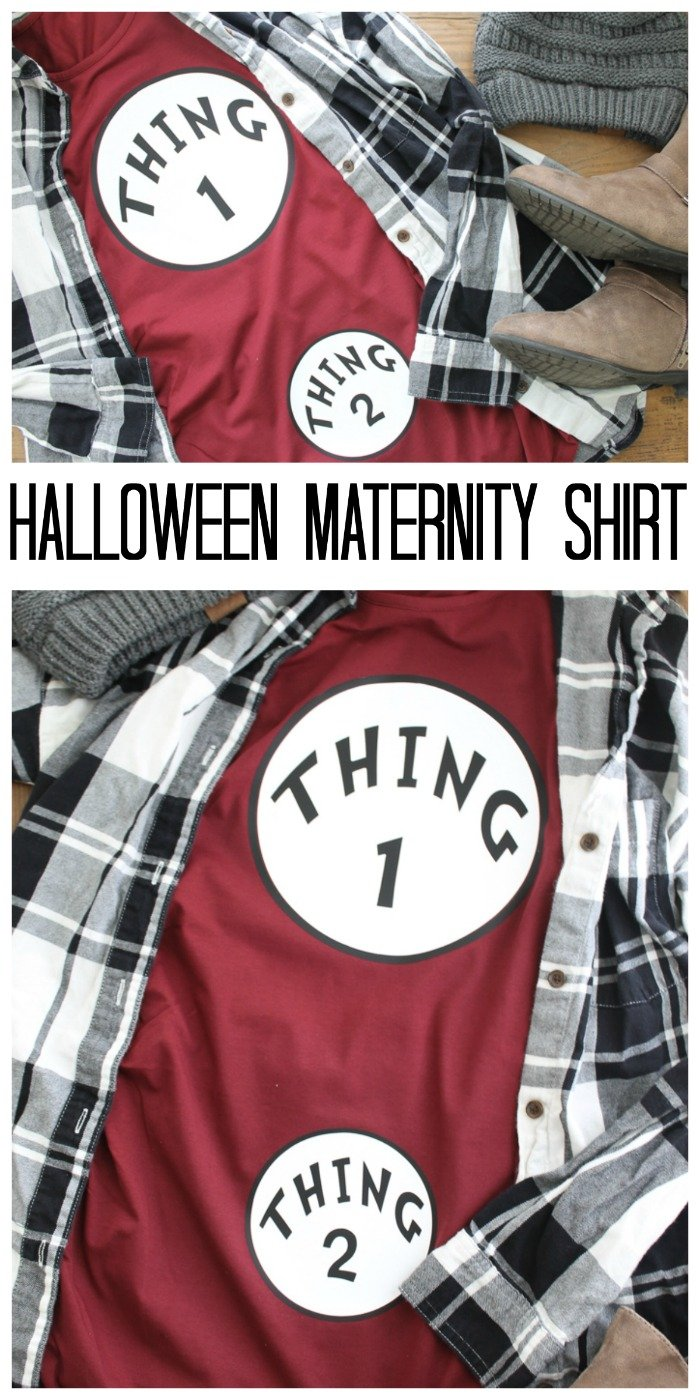 Make this Dr. Seuss inspired Halloween maternity shirt and show off your baby bump this fall! Includes a free SVG file so you can cut your own heat transfer vinyl! #halloween #maternity #drseuss