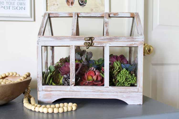 farmhouse style glass terrarium