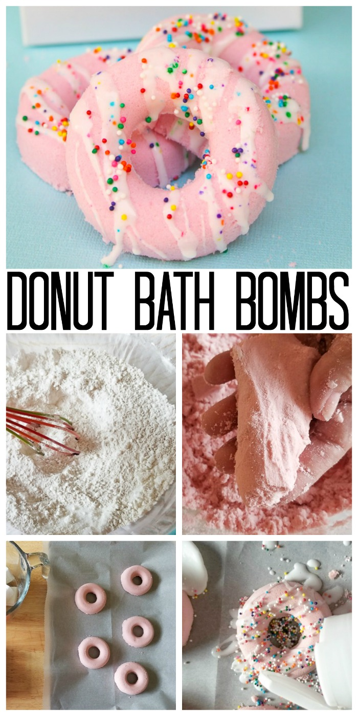 Learn how to make your own bath bomb in a donut shape! These donuts are perfect for parties and more! #donuts #bathbombs #party