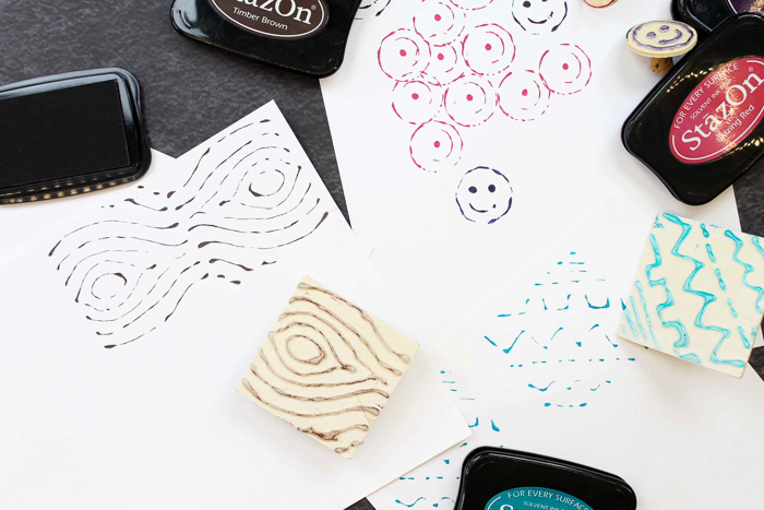 Learn how to make your own stamp with hot glue! A hot glue gun and a few simple supplies are all you need to make a custom stamp! #crafts #diy #stamping