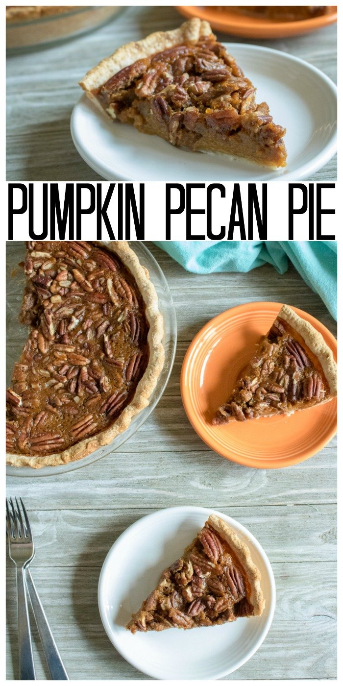 Make this pumpkin pecan pie recipe for any fall day or for Thanksgiving! A delicious twist on a classic that your entire family will love! #pumpkin #pie #thanksgiving