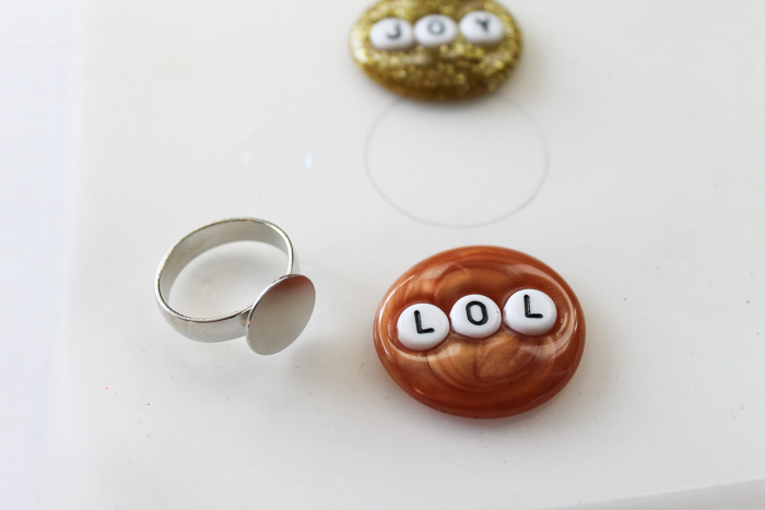 hot glue with letter beads in it