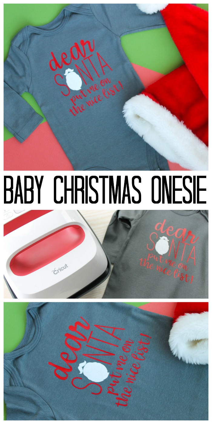 Making a baby Christmas onesie for your little one with the Cricut! A quick and easy Santa onesie with the cut file for you to make at home! #cricut #cricutmade