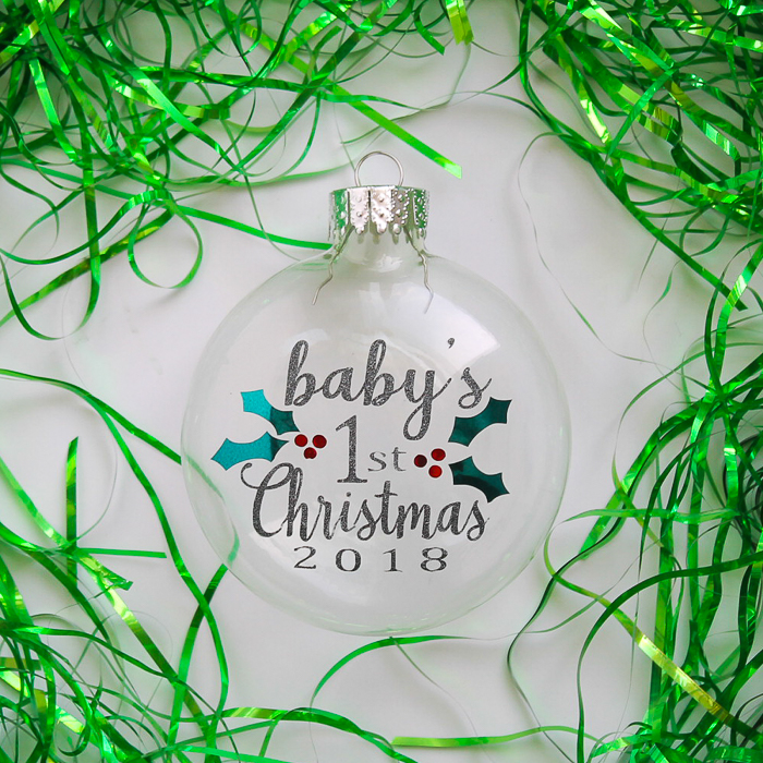 Make this baby's first Christmas ornament with a free SVG cut file included! Make with your Cricut or Silhouette! #cricut #cricutmade #christmas